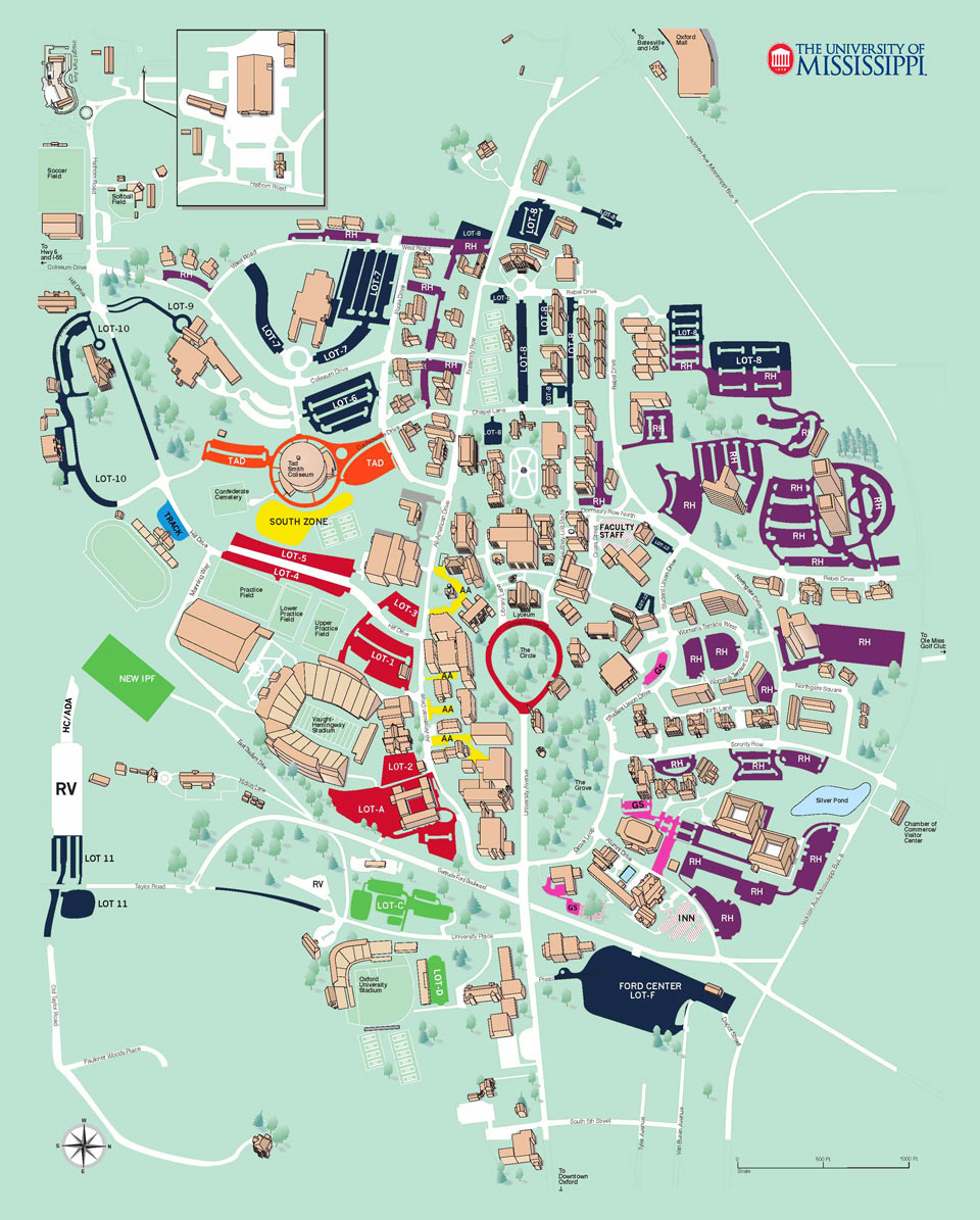 Map Of Ole Miss Campus Ole Miss Campus Map ~ CVLN RP
