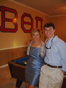 Dr. Kathy Hankins (BA 75, MD 79) poses with Beta Theta Pi fraternity member Stephen Quinn. Hankins, collegiate psychiatrist at the University of Nebraska-Omaha, still serves as chapter mother for the fraternity at Ole Miss.