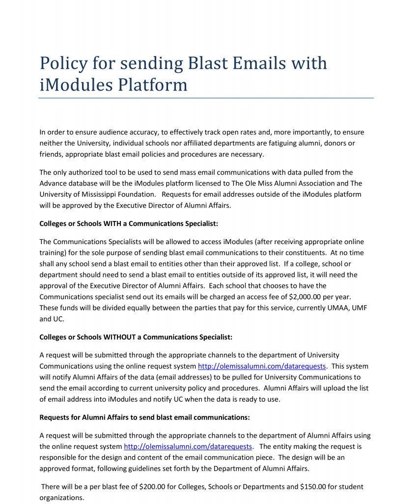 Policy for sending Blast Emails with iModules
