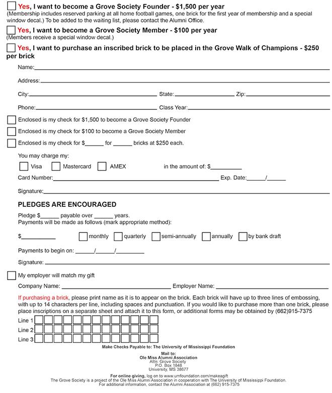 Grove Society Form